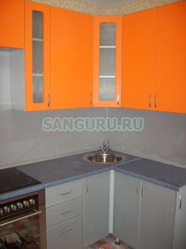 Кухня угловая мдф серо оранжевая